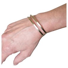 Gold Cuff Bracelet, Double Band Layering Bracelet, 14K Yellow, White, or Rose Gold, Great For Small Wrists