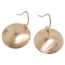 Gold Disc Earrings - 20mm Hammered & Domed Dangle, Drop Earrings