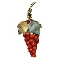Brooch ~ Small Vintage Cluster of Coral Grapes in 800 Silver Vermeil