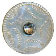 Button--Large Georgian 18th C. Engraved White Nautilus Pearl with Paste Jewel Pin-shank As Is