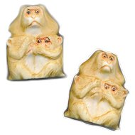 Cufflinks--Carved Pyralin Celluloid Monkeys in Sterling Silver