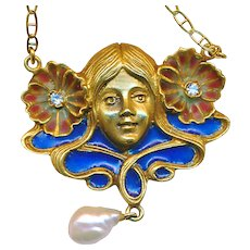Necklace--Plique a Jour Enamel and Gold Flower Nymph on Chain with Diamonds