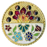 Button--Large Half and Half Floral Foliate Open Champleve Enamel on Brass