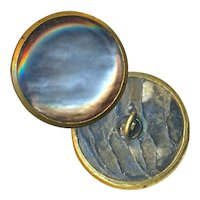 Button--Mid-19th C. Brass Rimmed Pearl