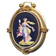 Brooch ~ Large 19th C. Hand Painted Porcelain Psyche and Cupid Gold-plated Brass