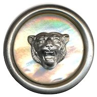 Button--Large Vintage White Metal with Pearl Inset & Roaring Lioness Escutcheon