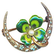 Brooch--Small Krementz Enamel Lucky Clover with Pearl & Enamel in 14 Karat Gold