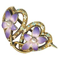 Brooch--Small Krementz Enamel Violets with Pearls on 14 Karat Gold Hearts