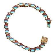 "Bracelet--Vintage Delicate 8"" Saphiret Glass Jewels in Bright Brass--21 Stones"