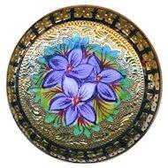 Brooch--Hand Painted Enamel En Plein Violets on Engraved Gold Plated Brass