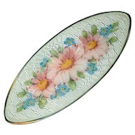 Brooch--Vintage Hand Painted Enamel Pink Daisies & Forget-me-nots on Opal Guilloche on Sterling