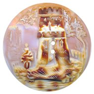 Button--Medium Mid-19th C. Cowrie Shell Cameo Lady and Tower