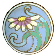 Button--Art Nouveau Undulating Daisy in Enamel on Brass