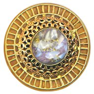 Button--Large Early 20th c. Art Glass Jewel in Filigree Brass on Celluloid Wafer