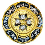 Button--Late 19th C. Elegant Hand Painted Brass with Rhinestones