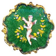 Button--Late 19th Basse Taille Enamel with Hand Painted Putto & Garland with Rococo Border--Medium