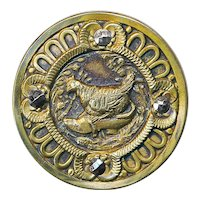 Button--Fat Hen Nesting in Shoe Whimsical Late 19th Brass & Cut Steel