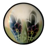 Button--Uncommon Large Stenciled Glass Flora-foliate on Matte Ivory Glass