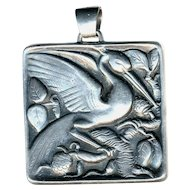 Pendant--Heavy Vintage Kollmar & Jourdan 0.835 Silver Marsh Bird in Foliage