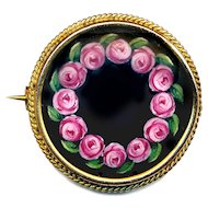Brooch--Kollmar & Jourdan Hand Painted Matte Finish Porcelain Wreath of Roses
