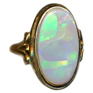 Ring--Custom Made Solid Crystal Oval Opal in 14 Karat Gold Size 8