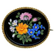 Brooch--Mid-19th C. Large Enameled Black Glass Flowers in Gold-plated Brass