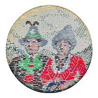 Button--Unusual 19th C. Woven Silk Asian Men in Hats