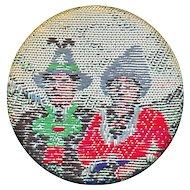Button--Unusual 19th C. Woven Silk Asian Men in Hats