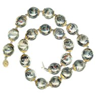 Necklace--Unusual 20th C. Chinese Large Hand-painted Beads with Interior Scenes & Figures