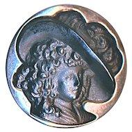 Button--19th C. Dimensional Black Glass Cameo Georgiana in Sterling Silver