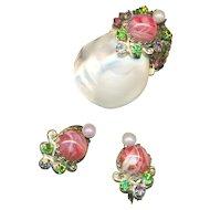 Brooch & Earrings--Miriam Haskell Vintage 1950s Mother of Pearl & Glass
