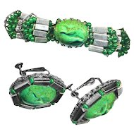 Brooch & Earrings--Vintage Haskell 1950s Gun-metal Faux Steel with Specked Green Glass