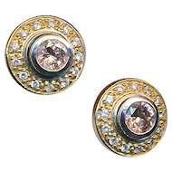 Earrings--Chocolate and White Diamonds in 14 Karat White and Yellow Gold (Jackets)