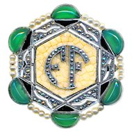 Brooch--Art Deco Marcasite, Shagreen, Peking Glass & Faux Pearls--EF Monogram