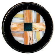 Brooch--19th C. Inlaid Scots Agate Cross in Onyx in Unmarked Silver