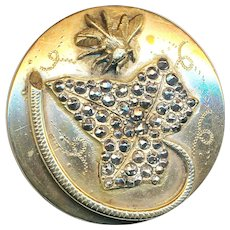 Button--Large 19th C. Encrusted Cut-steel Encrusted Leaf and Honey Bee--Elegant