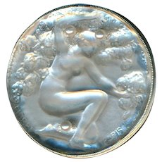 Button--Large 1920s Crystal Lalique Fioret Nymph in Sterling Silver