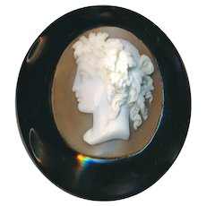 Brooch--Large Mid-19th c. Carved Natural Jet and Shell Cameo Bacchante