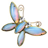Brooch--Small Early 20th C. Opalescent Glass Butterfly