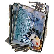 Brooch--Unique Susan Gifford Knopp Cloisonne Enamel 9/11 Memorial on Sterling Silver
