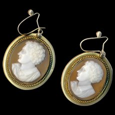 Earrings--Large Victorian Shell Cameos of Lord Byron in Gold-fill