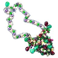 Necklace--Vintage 1950s Rousselet Glass Pearls & Pate de Verre Beads
