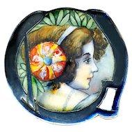 Brooch--Fine Matte Emaux Peints Enamel on 0.800 Silver Jugendstil or Secessionist Lady Portrait