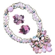 Necklace--Vintage Pink Rousselet Glass and Pate de Verre Beads