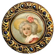 Button--Large 19th C. Chromolithograph Under Glass in Brass with Cut Steels