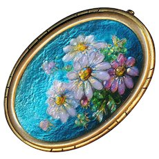 Brooch--Vintage French Limoges Enamel Daisies on Copper in Gold-plated Brass