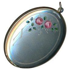 Pendant--Bloomed Silver Powder Case with en Plein Enamel Roses & Foliage