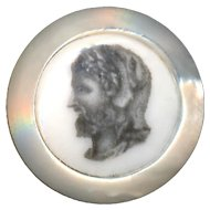 Button--19th C. Monochrome Transfer Porcelain Hercules in Lion Skin Cap in Pearl