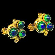 Earrings--Rare Freirich Peacock Eye Glass in Rich Gold Metal--Never Worn & Gorgeous