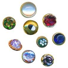 Buttons--Nine Very Nice Mid-19th C.Waistcoat  Glass Jewels